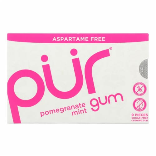 Pur Gum - Pomegranate Mint - Aspartame Free - 9 Pieces - 12.6 g - Case of 12 Perspective: front