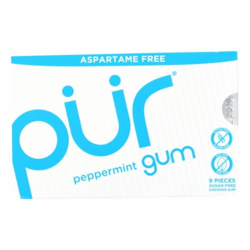 Pur Gum - Peppermint - Aspartame Free - 9 Pieces - 12.6 g - Case of 12 Perspective: front