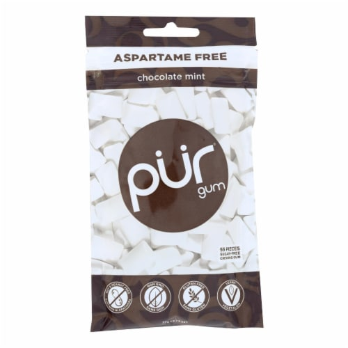 Pur Gum Sugar Free Gum - Chocolate Mint - Case of 12 - 77 GM Perspective: front