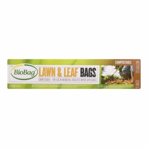 BioBag - 33 Gallon Lawn and Leaf Bags - Case of 12 - 5 Count Perspective: front