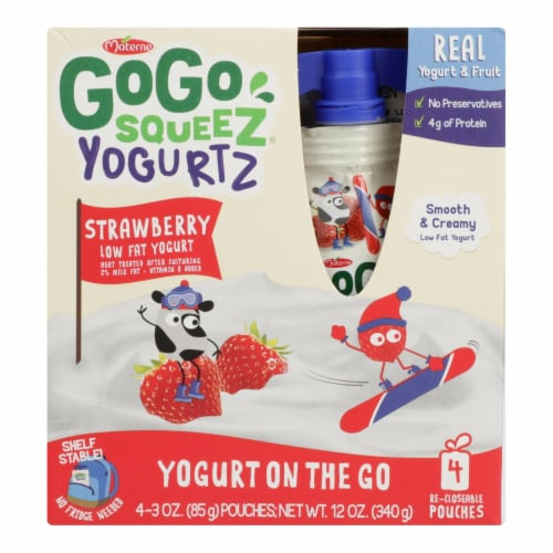 Gogo Squeez Low Fat Yogurt - Case of 12 - 4/3 OZ Perspective: front