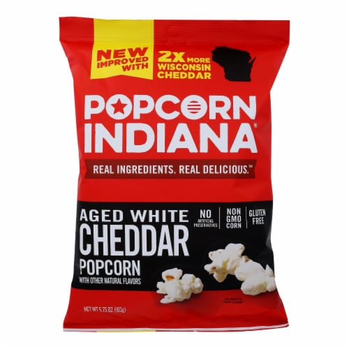 Popcorn Indiana Popcorn - Aged White Cheddar - Case of 12 - 5.75 oz. Perspective: front