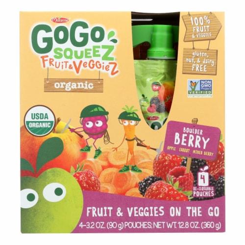 Gogo Squeez Bolder Berry Organic Fruit & Veggiez On The Go - Case of 12 - 4/3.2 OZ Perspective: front