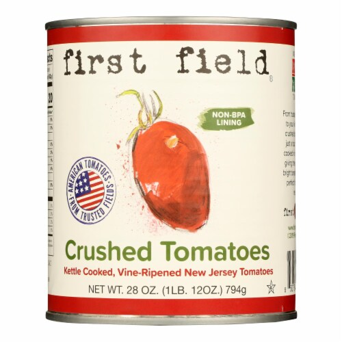 First Field Crushed Tomatoes - Case of 12 - 28 OZ Perspective: front