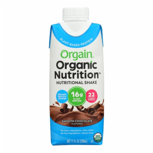 Orgain Organic Vegan Nutritional Shakes - Smooth Chocolate - Case of 12 - 11 Fl oz. Perspective: front