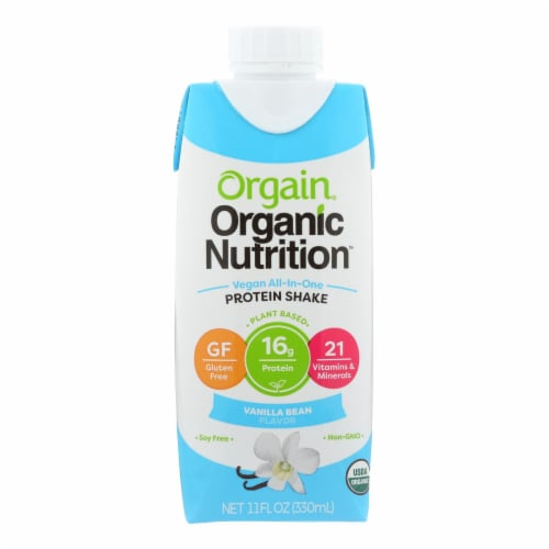 Orgain Organic Nutritional Shakes - Sweet Vanilla Bean - Case of 12 - 11 Fl oz. Perspective: front