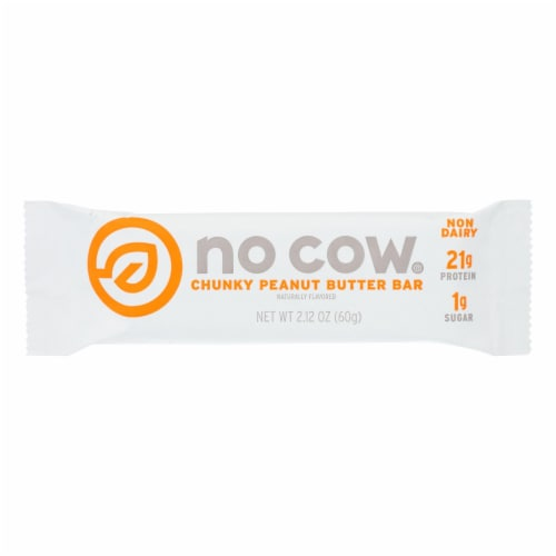 No Cow Bar Chunky Peanut Butter Bar - Case of 12 - 2.12 OZ Perspective: front