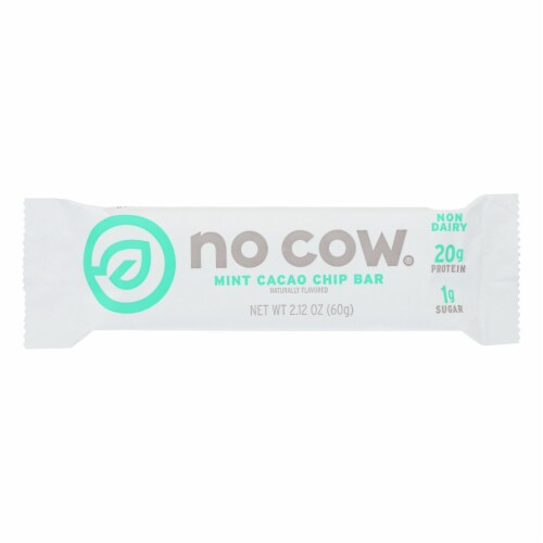 No Cow Bar Mint Cacao Chip Bar - Case of 12 - 2.12 OZ Perspective: front
