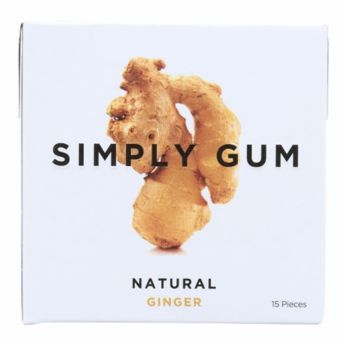 Simply Gum All Natural Gum - Ginger - Case of 12 - 15 Count Perspective: front