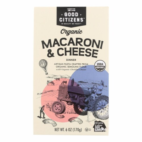 Good Citizens Organic Macaroni & Cheese Dinner - Case of 12 - 6 OZ Perspective: front