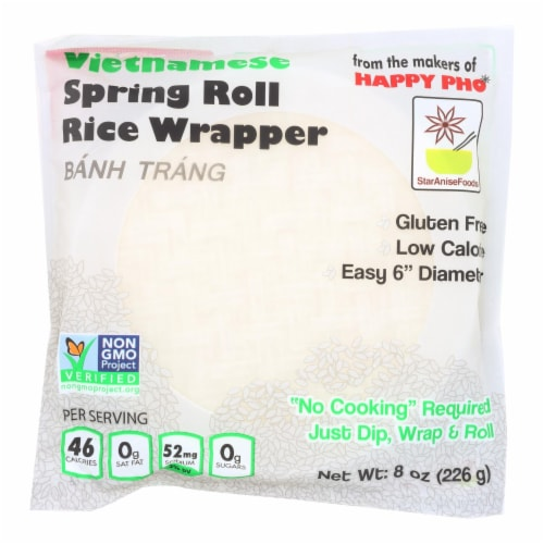 Star Anise Foods Vietnamese Spring Roll Rice Wrapper  - Case of 12 - 8 OZ Perspective: front