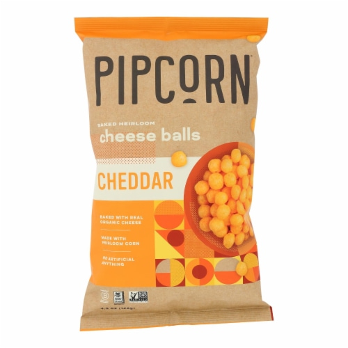 Pipcorn - Cheese Balls Cheddar - Case of 12 - 4.5 OZ Perspective: front