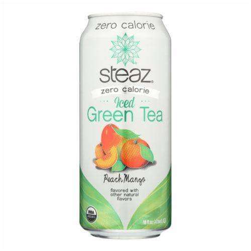 Steaz Zero Calorie Green Tea - Peach Mango - Case of 12 - 16 Fl oz. Perspective: front