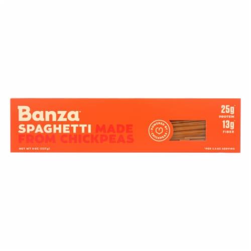 Banza - Chickpea Pasta - Spaghetti - Case of 12 - 8 oz. Perspective: front
