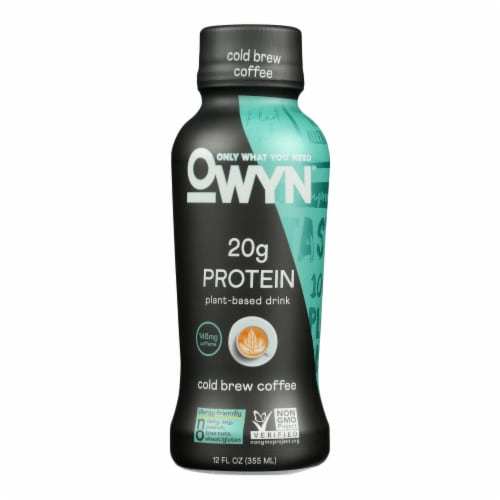 Only What You Need - Plant Based Protein Shake - Cold Brew Coffee - Case of 12 - 12 fl oz. Perspective: front