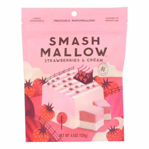 Smashmallow Snackable Marshmallows - Strawberries & Cream - Case of 12 - 4.5 oz Perspective: front