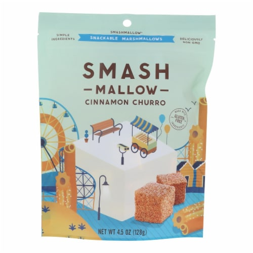 Smashmallow Snackable Marshmallows - Cinnamon Churro - Case of 12 - 4.5 oz Perspective: front