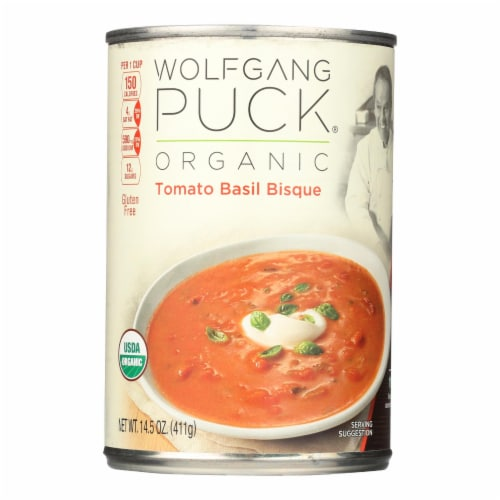 Wolfgang Puck Organic Classic Tomato Basil Bisque - Case of 12 - 14.5 oz. Perspective: front