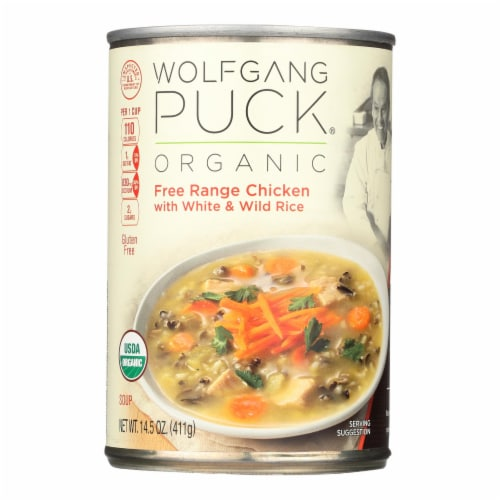 Wolfgang Puck Organic Soup - Chicken with White and Wild Rice - Case of 12 - 14.5 oz. Perspective: front