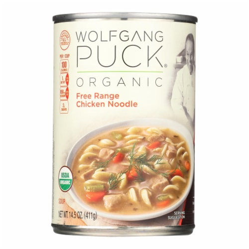 Wolfgang Puck Organic Free Range Chicken Noodle Soup - Case of 12 - 14.5 oz. Perspective: front