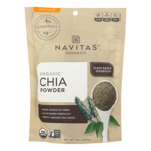 Navitas Naturals Chia Seed Powder - Organic - 8 oz - case of 12 Perspective: front