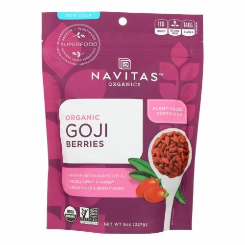 Navitas Naturals Goji Berries - Organic - Sun-Dried - 8 oz - case of 12 Perspective: front