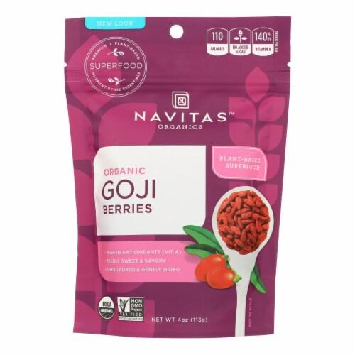 Navitas Naturals Goji Berries - Organic - Sun-Dried - 4 oz - case of 12 Perspective: front