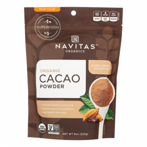 Navitas Naturals Cacao Powder - Organic - Raw - 8 oz - case of 12 Perspective: front