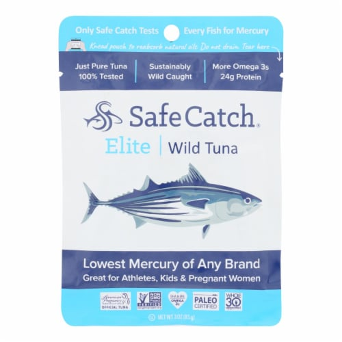 Safe Catch - Tuna Elite Wild Ss Pouch - Case of 12 - 3 OZ Perspective: front