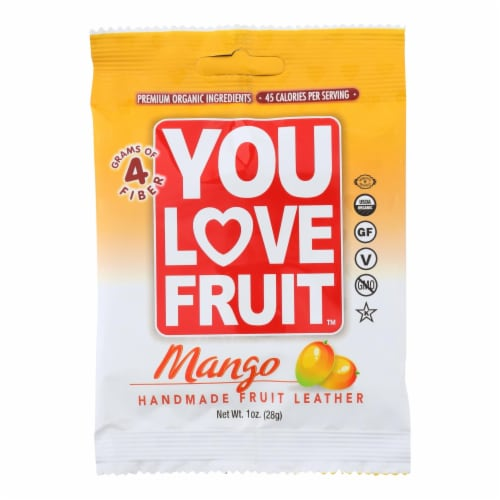 You Love Fruit - Organic Fruit Leather - Mango - Case of 12 - 1 oz. Perspective: front