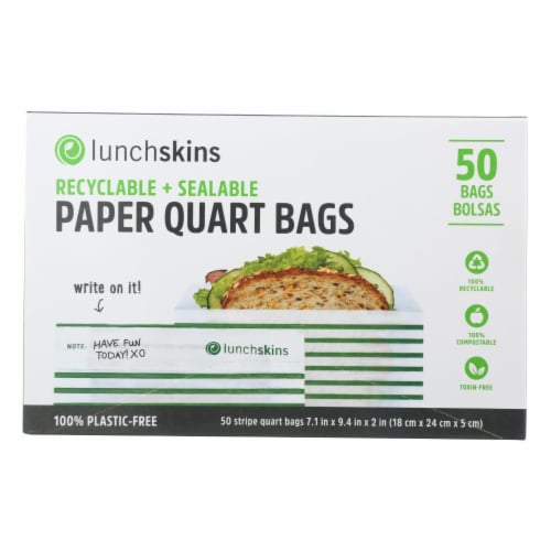 Lunchskins - Paper Sandwich Bags - Green Stripe - Case of 12 - 50 Count Perspective: front