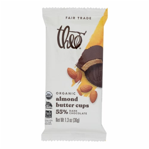 Theo Chocolate Salted Almond Butter Cups - Dark Chocolate - Case of 12 - 1.3 oz. Perspective: front