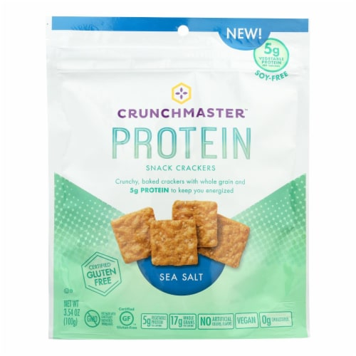 Crunchmaster Protein Crackers - Sea Salt - Case of 12 - 3.54 oz Perspective: front