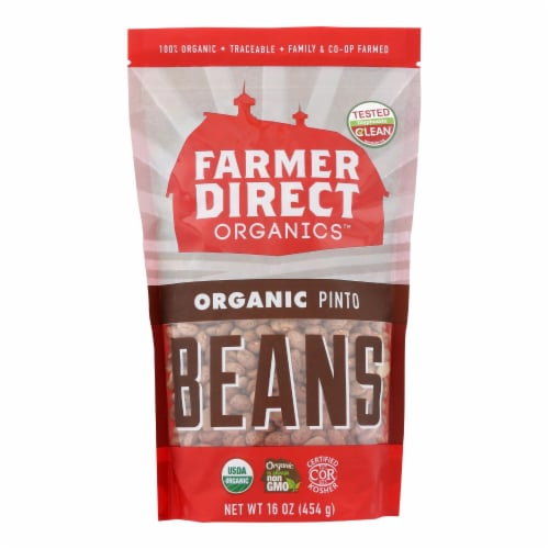 Farmer Direct Co-Op, Organic Pinto Beans - Case of 12 - 1 LB Perspective: front