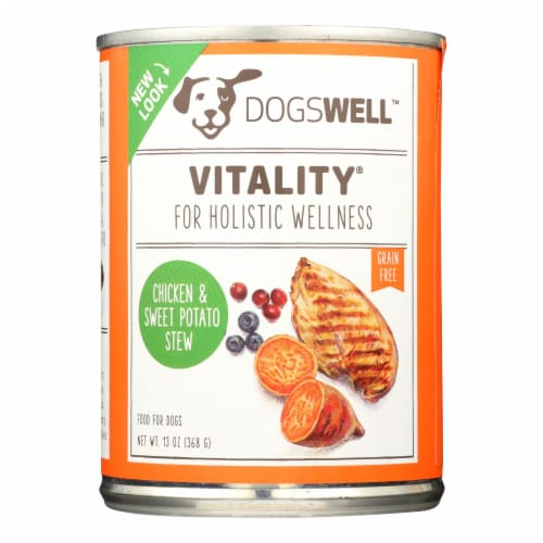 Dogs well Vitality Chicken and Sweet Potato Stew Dog Food - Case of 12 - 13 oz. Perspective: front