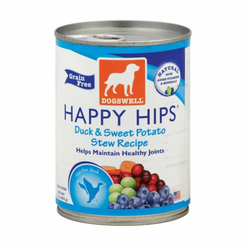 Dogs well Happy Hips Duck and Sweet Potato Stew Dog Food - Case of 12 - 13 oz. Perspective: front