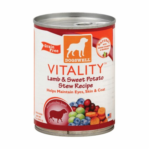 Dogs well Vitality Lamb and Sweet Potato Stew Dog Food - Case of 12 - 13 oz. Perspective: front