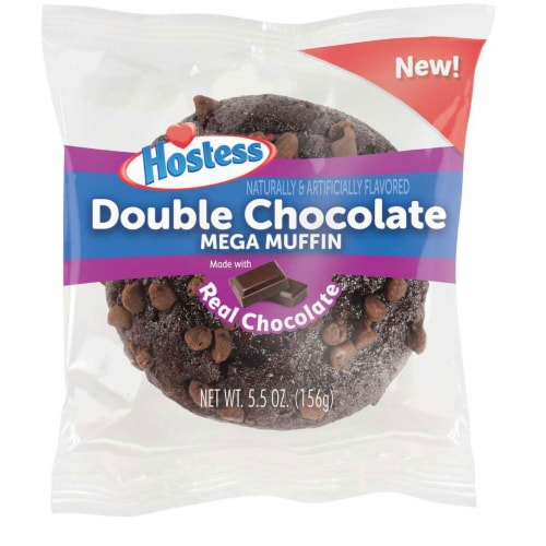 Hostess Double Chocolate Jumbo Muffin, 5.5 Ounce -- 36 per case. Perspective: front