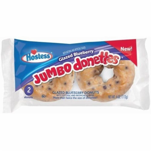 Hostess Glazed Blueberry Jumbo Donuts, 4 Ounce -- 36 per case. Perspective: front