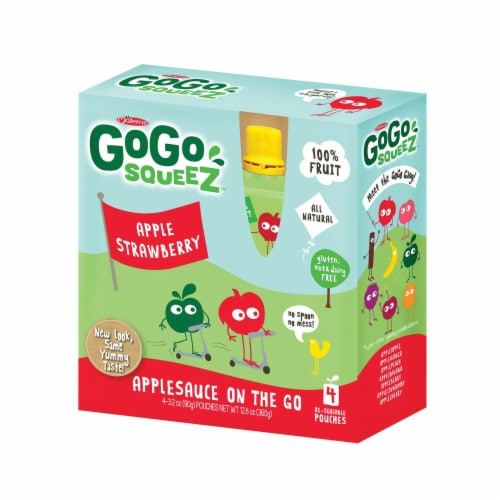 GoGo Squeeze Organic Applesauce - Apple Strawberry - Case of 12 - 3.2 oz. Perspective: front