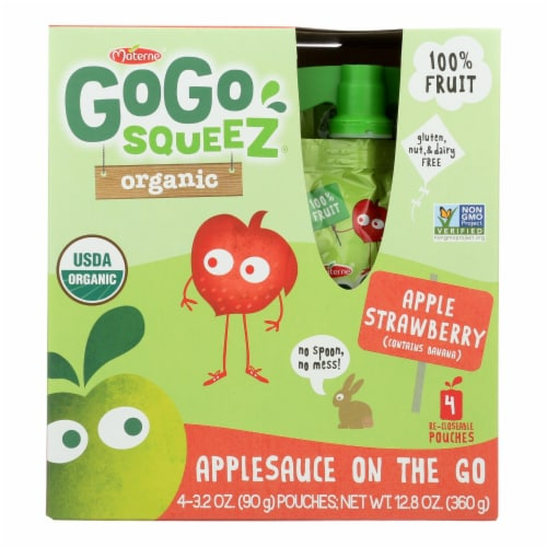 GoGo Squeeze Applesauce - Apple strawberry - Case of 12 - 3.2 oz. Perspective: front