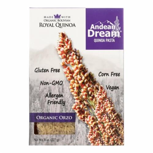 Andean Dream Gluten Free Organic Orzo Quinoa Pasta - Case of 12 - 8 oz. Perspective: front