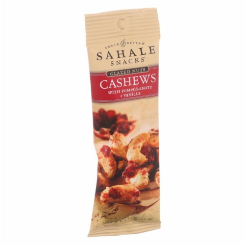 Sahale Snacks Glazed Nuts - Cashews with Pomegranate and Vanilla - 1.5 oz - Case of 9 Perspective: front