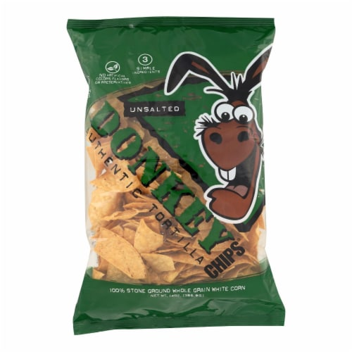 Donkey Chips Tortilla Chips - Unsalted - Case of 12 - 14 oz. Perspective: front