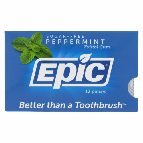 Epic Dental - Xylitol Gum - Peppermint - Case of 12 - 12 Pack Perspective: front
