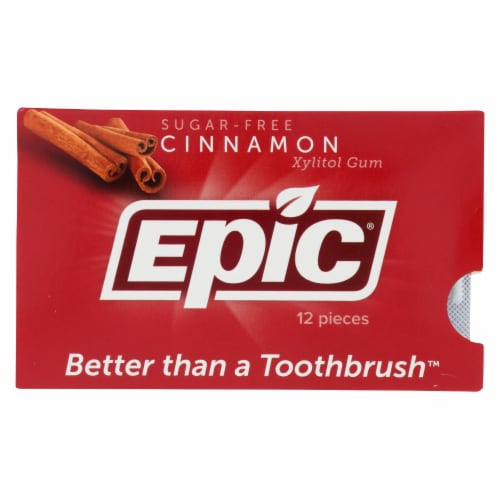 Epic Dental - Xylitol Gum - Cinnamon - Case of 12 - 12 Pack Perspective: front