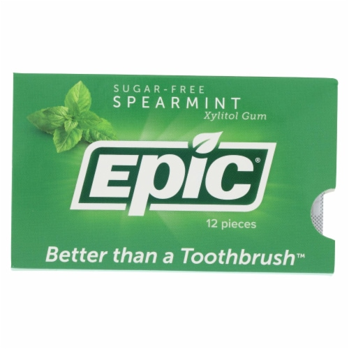 Epic Dental - Xylitol Gum - Spearmint - Case of 12 - 12 Pack Perspective: front