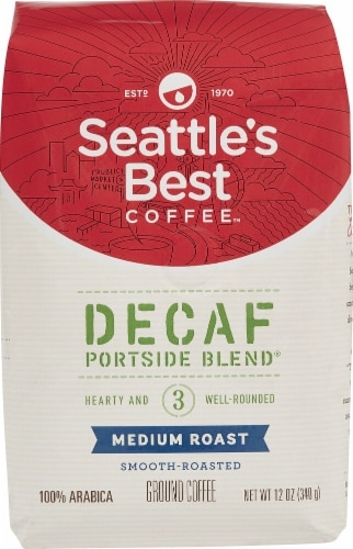 Seattle's Best Coffee  Ground Coffee  Medium Roast   Decaf Portside Blend Perspective: front