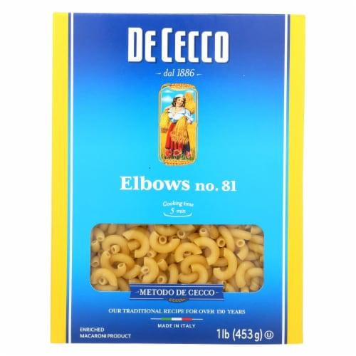 De Cecco Pasta - Elbows Pasta - Case of 20 - 16 oz. Perspective: front