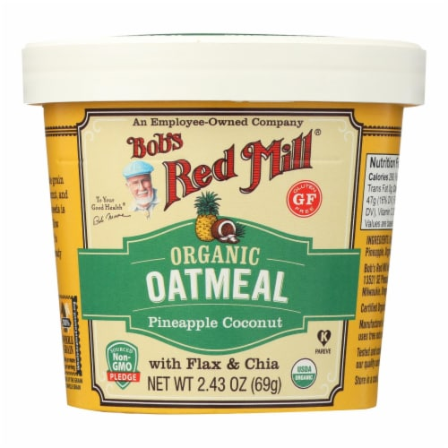 Bob's Red Mill - Oatmeal Cup - Organic Pineapple Coconut - Gluten Free - Case of 12 - 2.43 oz Perspective: front